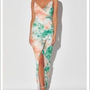 Lulus Green/Orange Tie-Dye Maxi Dress